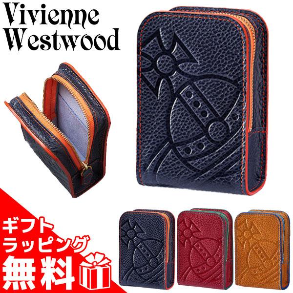 ヴィヴィアンウエストウッド シガレットケース タバコケース レディース メンズ BIG ORB 牛革 レザー BOX ソフト箱(20本)1個分 ネイビー/レッド/キャメル 1518945