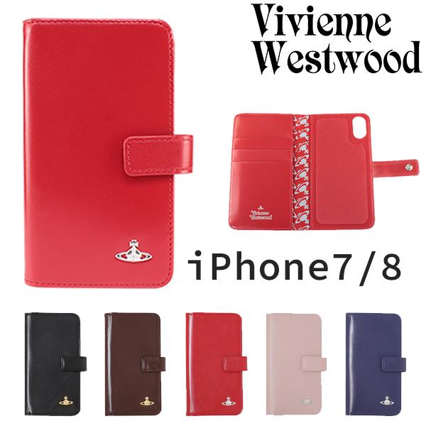 ヴィヴィアンウエストウッド レディース iPhoneケース 手帳型 iPhone7/8対応 牛革 ヴィンテージ WATER ORB 3918M1B