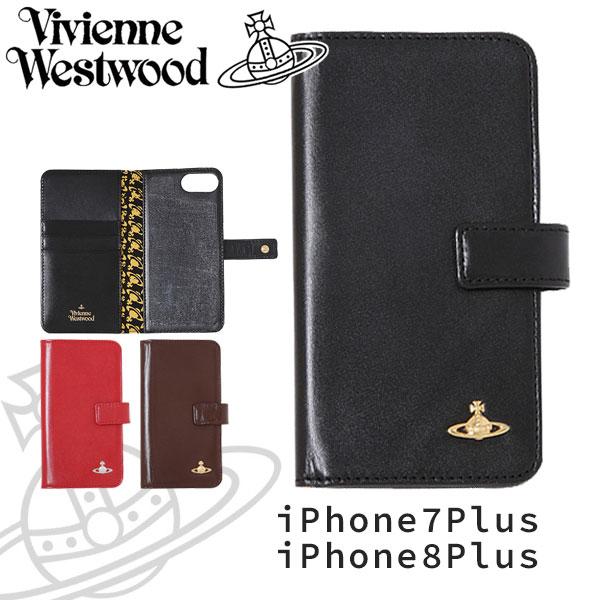 ヴィヴィアンウエストウッド レディース iPhoneケース 手帳型 iPhone7plus/8plus 牛革 ヴィンテージ WATER ORB 3918M1C