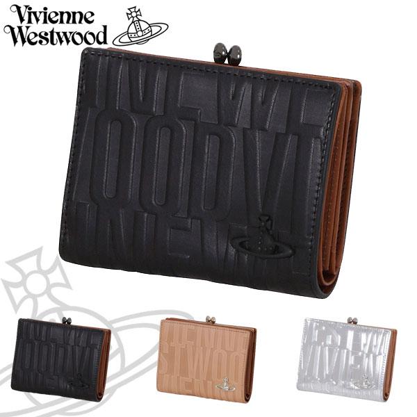 ヴィヴィアンウエストウッド レディース がま口二つ折り財布 ブライダルボックス 牛革 ブラック ベージュ シルバー 3218V53