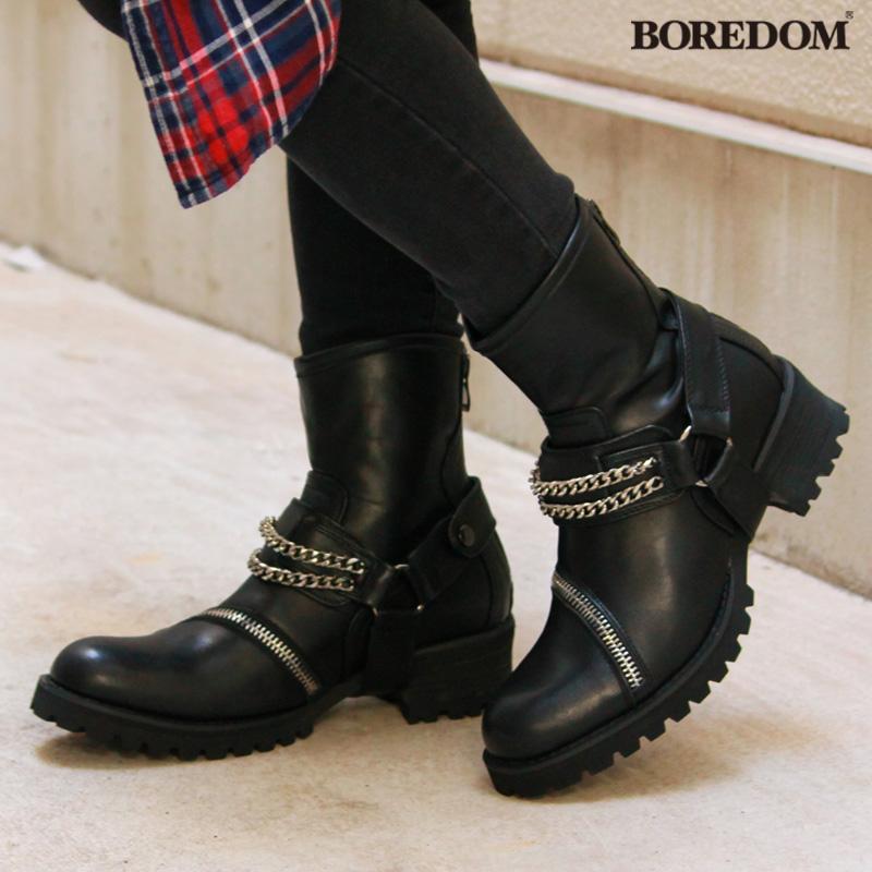 【あす楽】エンジニアブーツ 革靴 メンズ BOREDOM ボアダム 合皮 PUレザー チェーン ベルト サイドジップ タンクソール ワークブーツ カジュアルシューズ 黒 ブラック 25.0~27.0cm 0098