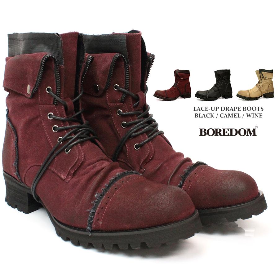 【BOREDOM ボアダム】ドレープ レースアップ ブーツ 8021 お兄系 ベルト ライダース エンジニア カジュアル 紳士 靴 タンクソール スウェード レザー ショートブーツ