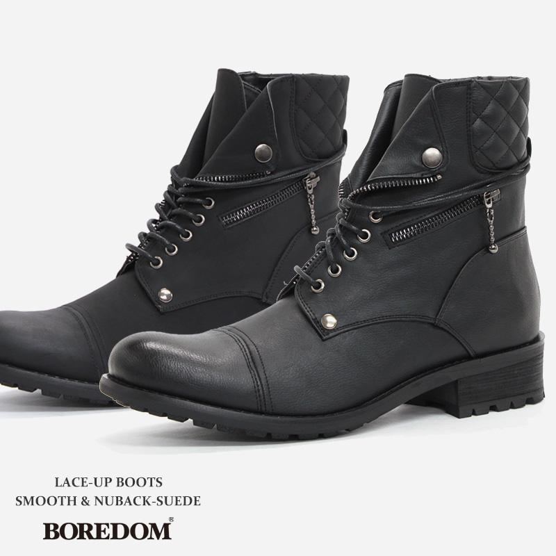 メンズ ブーツ レースアップブーツ【BOREDOM ボアダム】 紳士 靴 レザー スエード スウェード ヌバック ブラック 革靴 ミリタリー ブーツ 黒 大人 カジュアル ロング ジップ