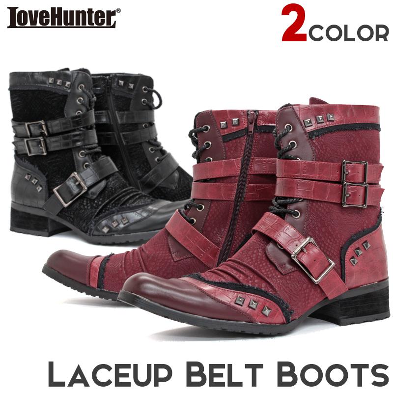 メンズ ブーツ 靴【LOVEHUNTER ラブハンター】レースアップベルトブーツ 6800 お兄系 スタッズ ポインテッド ヒール
