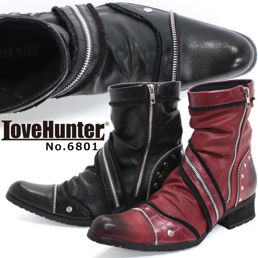 【あす楽】ブーツ メンズ サイドジップ シャーリング レザー革 お兄系 ホスト きれいめ カジュアル おしゃれ 【LOVEHUNTER ラブハンター】6801