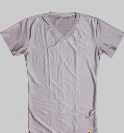 YBIの魔法の下着 ネルトダウンVネックTシャツ シルバー サイズL