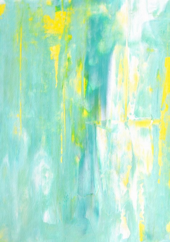 T30 Gallery/Turquoise and Yellow Abstract Art Painting