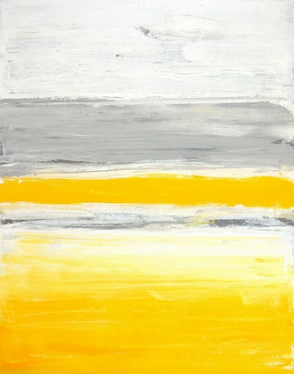 T30 Gallery/Grey and Yellow Abstract Art Painting