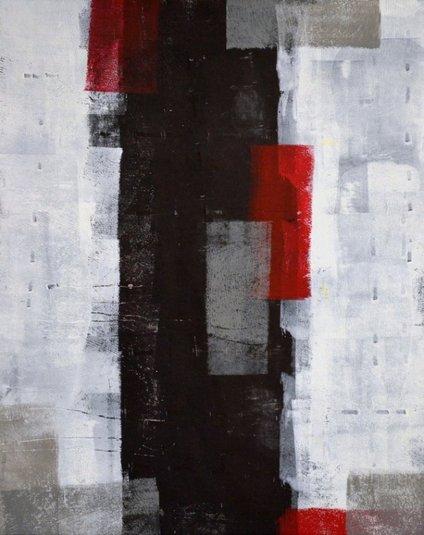 T30 Gallery/Red and Grey Abstract Art Painting
