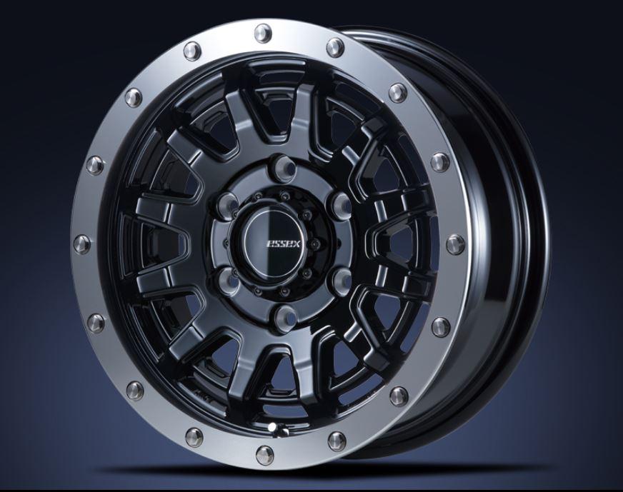 ESSEX(エセックス) EX ブラック15インチ 【厳選輸入195/80R15ホイールタイヤ4本セット】 200系ハイエースに最適〈タイヤメーカー選べます!〉