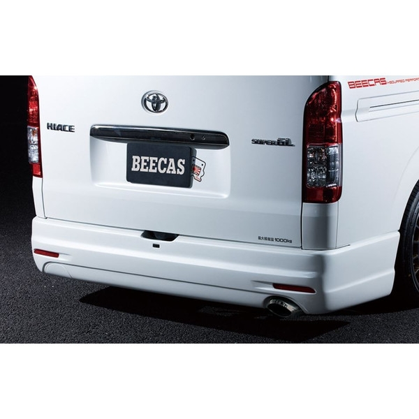 K-BREAK(ケイブレイク) BEECAS リアバンパースポイラー未塗装 片側フタ・リフレクター付き 200系ハイエース4型標準ボディ