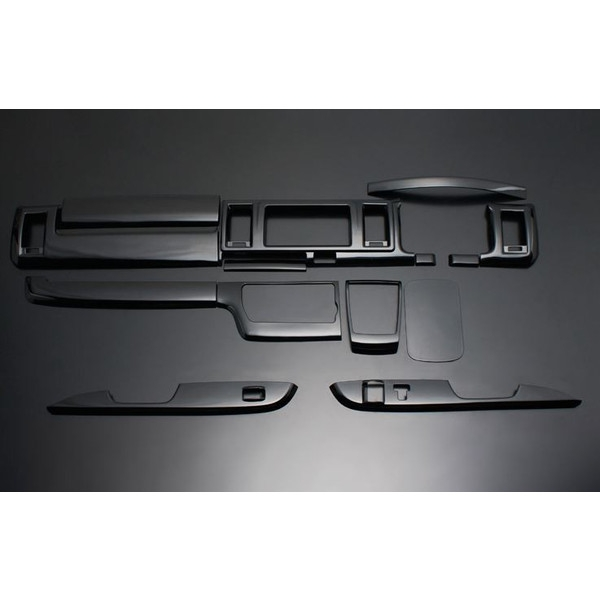 フェガーリ ハイエース 200系 4型ワイド用 トップグレードシリーズ インテリアパネル  14ピース ピアノブラック