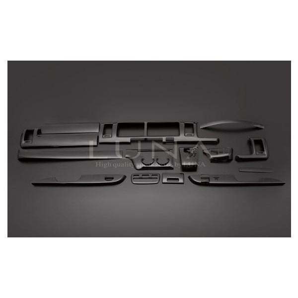 フェガーリ ハイエース 200系 1~3型ワイド用 インテリアパネル 15ピース 黒木目