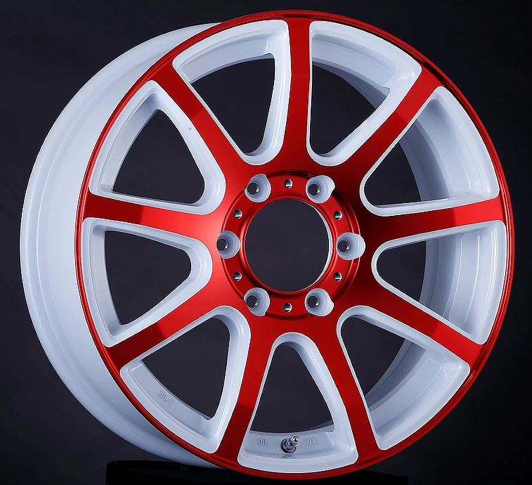 スライスナイン「Slice-9」 ホワイトレッド 18インチ 【厳選輸入225/50R18ホイールタイヤセット】 200系ハイエースに最適〈タイヤ銘柄選べます!〉