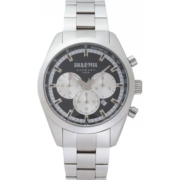 ゴールドファイル スポーツクロノメンズ腕時計 ブラック&シルバー G41006SB【16日9:59までポイント10倍】