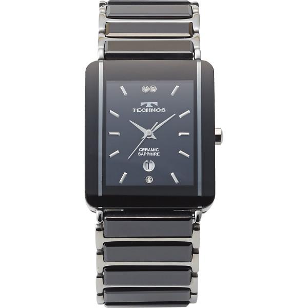 テクノス セラミックサファイア メンズスクエア腕時計 シルバー TSM903TB【16日9:59までポイント10倍】