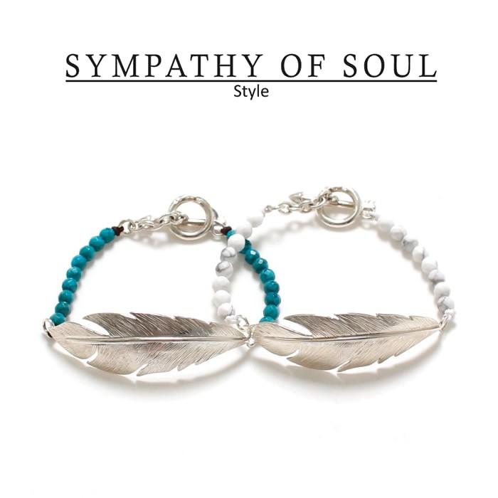 SYMPATHY OF SOUL Style レディース シンパシーオブソウル スタイル feather Beads Bracelet フェザービーズブレスレット ターコイズ ハウライト 【正規商品 公式通販】