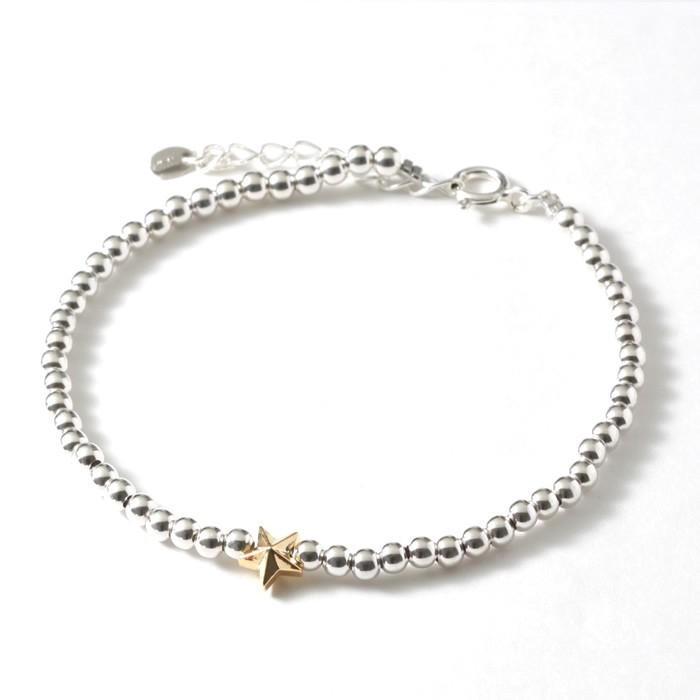 スウィング ブレスレット スター メンズ レディース シルバーボールビーズブレス SWING Sm. Silver Ball Beads Bracelet w/Tiny Star Silver