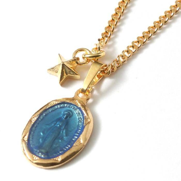 スウィング ネックレス スター マリア メンズ セットネックレス SWING Large Blessed Maria Necklace Gold plating w/Tiny Star Charm GV