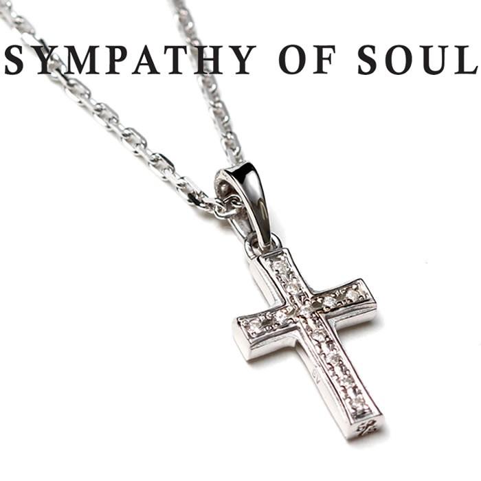 SYMPATHY OF SOUL Small Gravity Cross Necklace Silver w CZ スモールグラビティクロスネックレス シルバー w キュービックジルコニア Safari 掲載モデル【正規商品 公式通販】