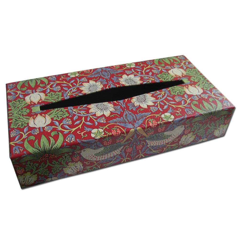 ウィリアムモリスデザインのティッシュボックスです ギフト オシャレなインテリア小物としてご活用いただけます ウィリアムモリス.オリジナルティッシュボックス.いちご泥棒 新生活 ルビーレッド