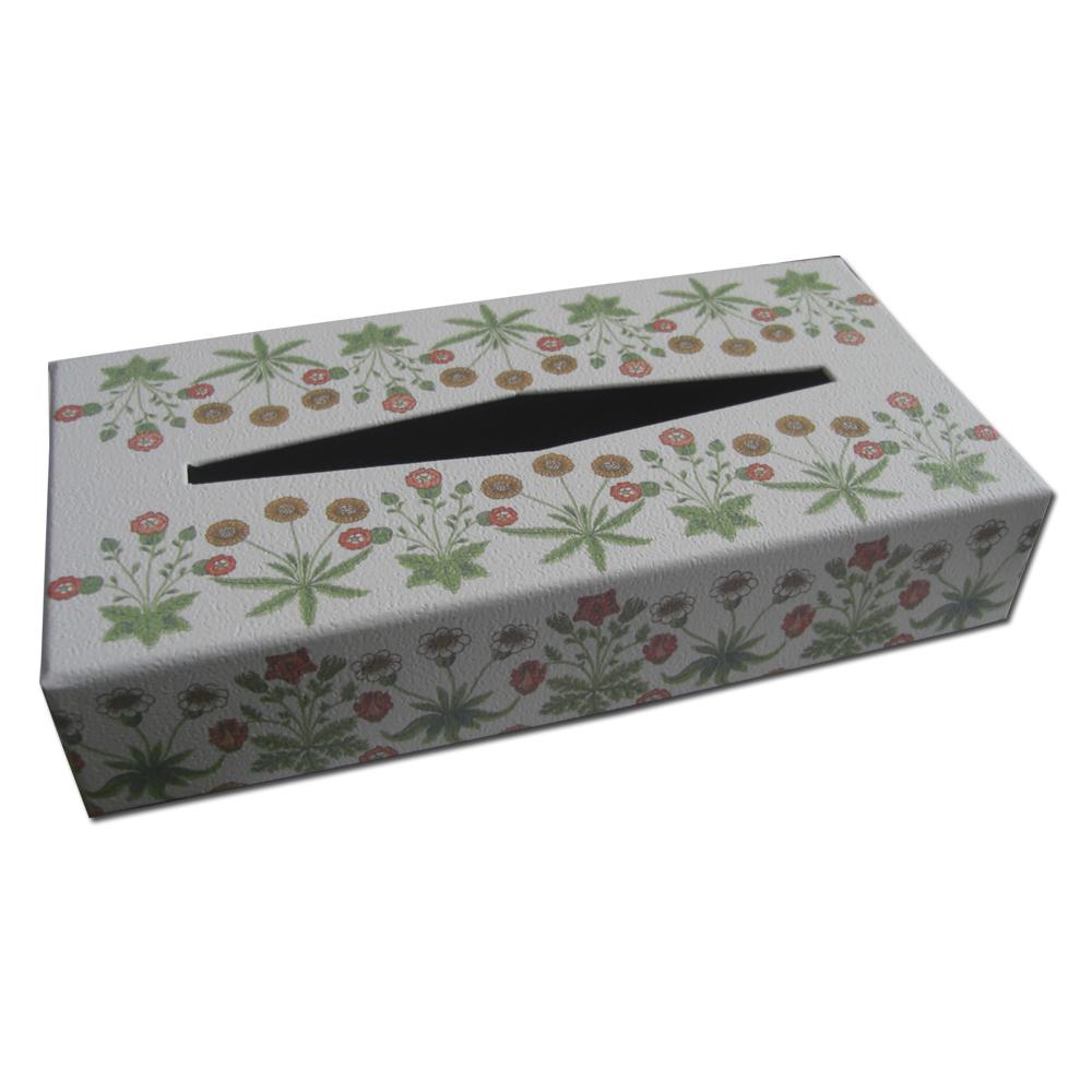 ウィリアムモリスデザインのティッシュボックスです 配送員設置送料無料 オシャレなインテリア小物としてご活用いただけます 特価キャンペーン オフホワイト ウィリアムモリス.オリジナルティッシュボックス.デイジー