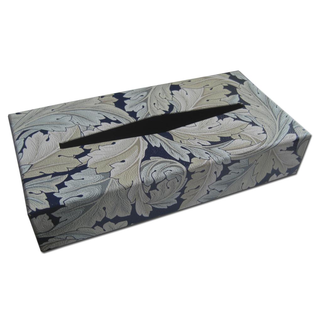 ウィリアムモリスデザインのティッシュボックスです オシャレなインテリア小物としてご活用いただけます 超特価SALE開催 ウィリアムモリス.オリジナルティッシュボックス.アカンサス ネイビーブルー オンラインショップ