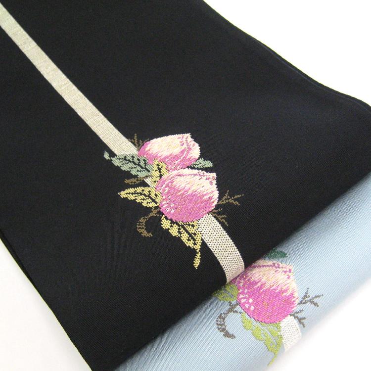 【撫松庵】細帯(半巾帯) 桃/ブルー・ブラック