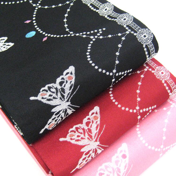 【撫松庵】細帯(半巾帯) 蝶と宝石/ブラック・レッド・Eピンク