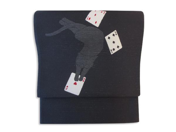 【訳あり】【shu libre】京袋帯 猫とトランプ/黒×赤