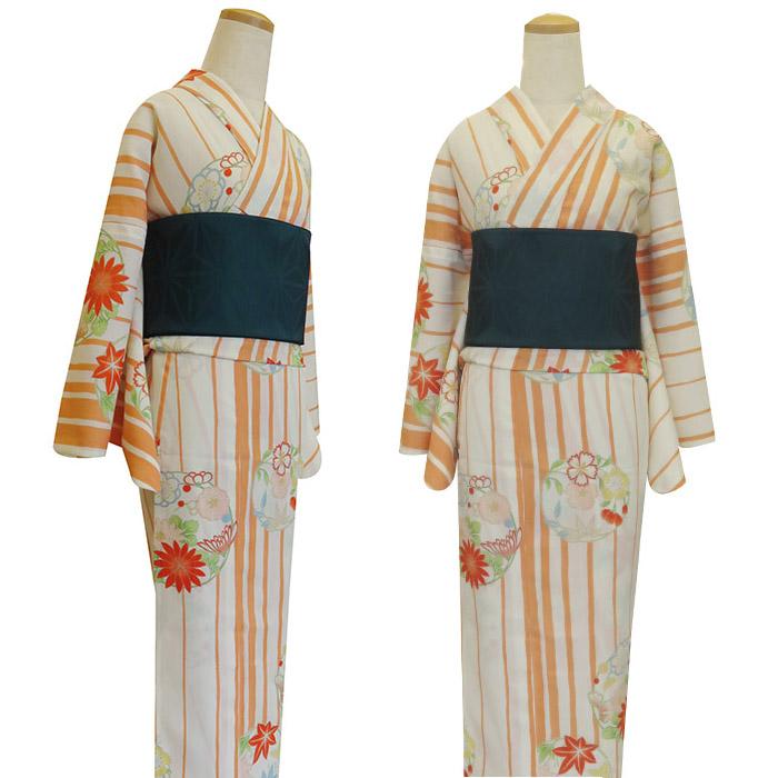 【嵐山よしむら】 レディース浴衣/花丸縞/オレンジ[大人柄 ストライプ 綺麗 白色花]