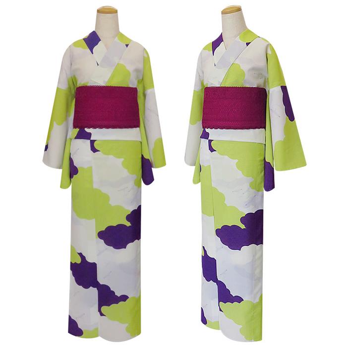 撫松庵 レディース浴衣 カモメに雲/白色 紫 黄色 [大柄 大人柄 雲]
