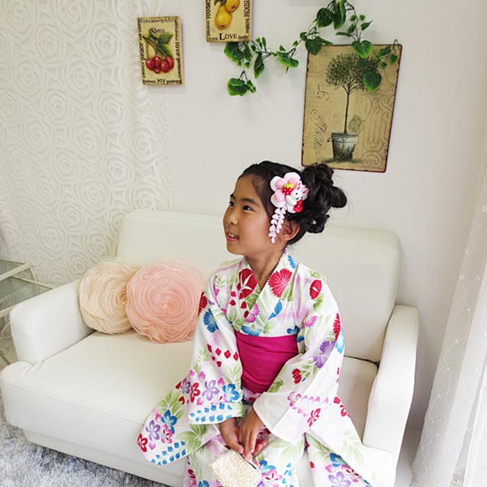 【撫松庵ジュニア】子供浴衣 朝顔×白 女の子 7-8歳 (120) 10P03Dec16