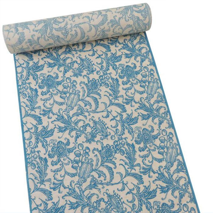 【オフィストリエ】長板染め浴衣反物 ブルー 日本製[青 お仕立て]