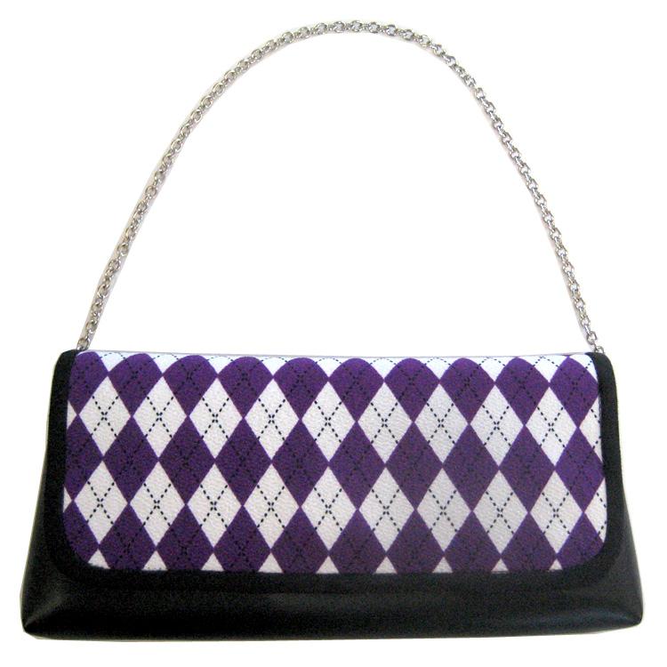 【NICOLE】セカンドバッグ ダイヤ/紫×黒×白