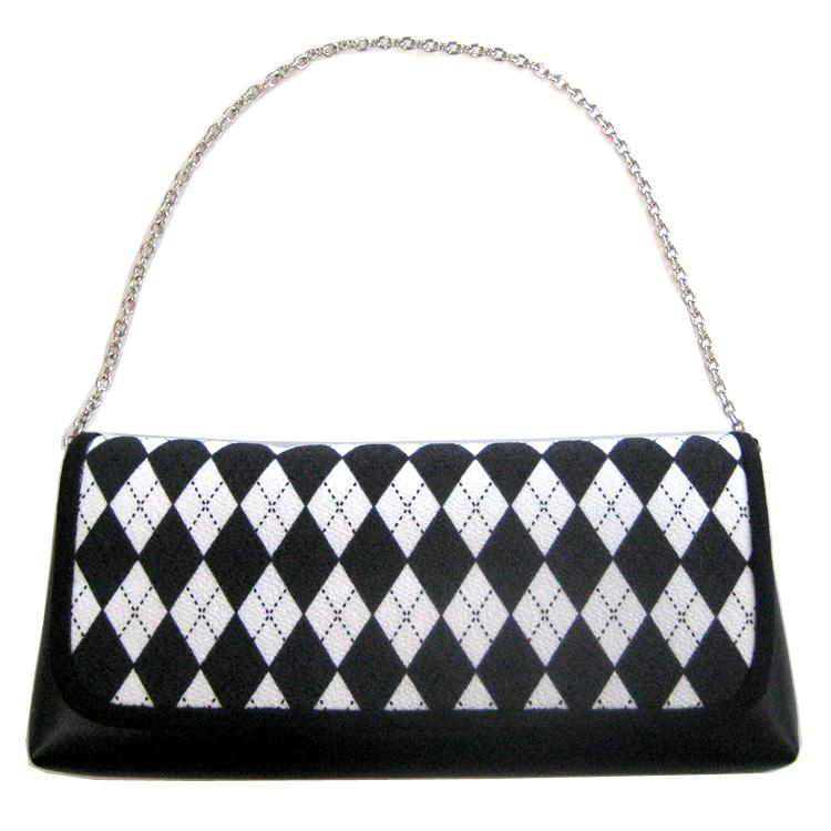 【NICOLE】セカンドバッグ ダイヤ/黒×白