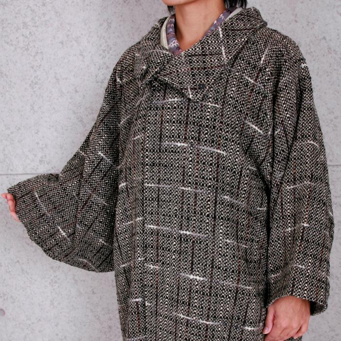 【しゃなりすと】2way衿ロングコート/ポケットあり チェック/茶