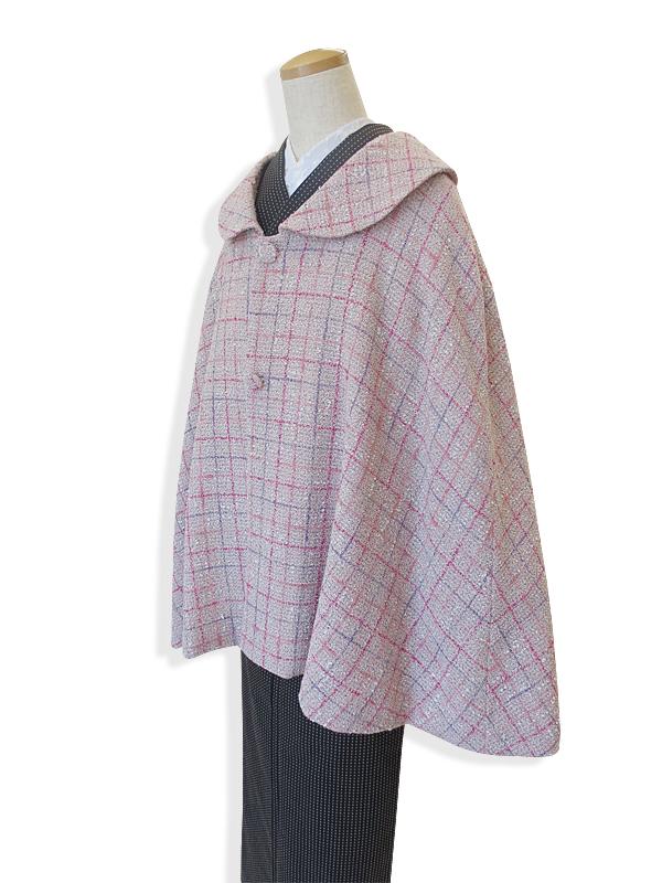 【日本製】ケープコート (ポンチョ/マント) レディース ウール ツイード ピンク