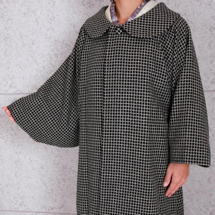 【粋夢】丸衿コート/ロングコート 黒