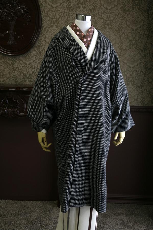 【粋夢】へちま衿コート ドット/ブラック
