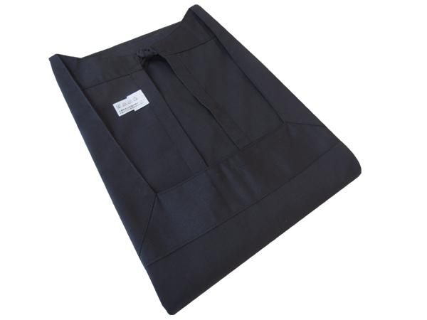 【日本製】黒の割烹着(ロング丈 エプロン) 日清紡 防縮加工