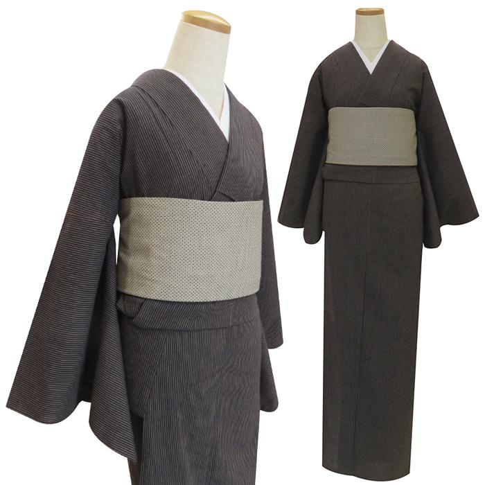 【粋夢】お仕立上がり着物 縞/黒×茶(単衣)[きもの 木綿 カジュアル ]