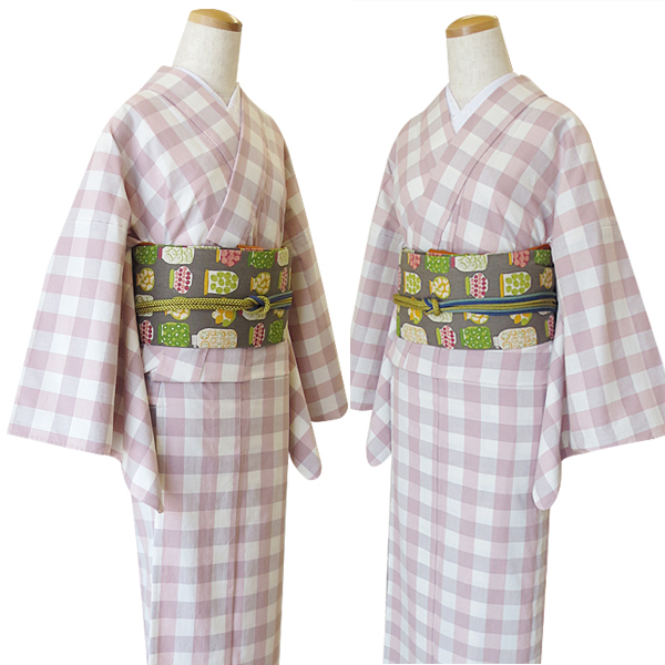 しゃなりすとオリジナル木綿シリーズ【シュシュ】木綿着物お仕立上がり ブロックチェック ピンク M/Lサイズ