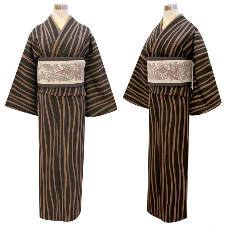 【青々庵】お仕立上がり着物(袷・プレタ) よろけ縞 黒×茶色 レディース フリーサイズ