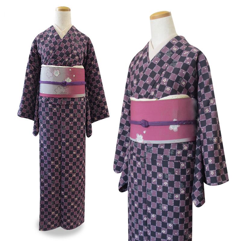 【日々きらら】お仕立上がり着物(袷)、市松/黒×紫 フリーサイズ