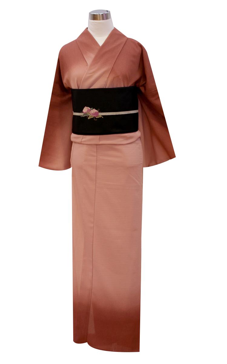 【夢工房】お仕立上がり着物 単衣プレタ/夏きもの/絽 裾ぼかし/赤銅 レディース フリーサイズ M