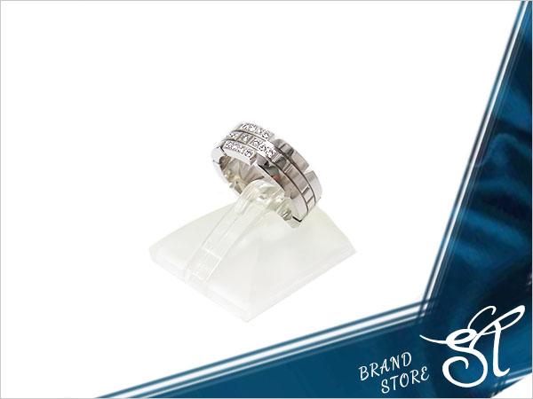 ■カルティエ■Cartierタンクフランセーズリング ハーフダイヤモンド #48 K18WG 【S中古】