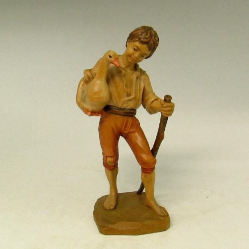 アンリ ANRI (イタリア)木彫り人形 『少年とアヒル』 新入荷【中古】