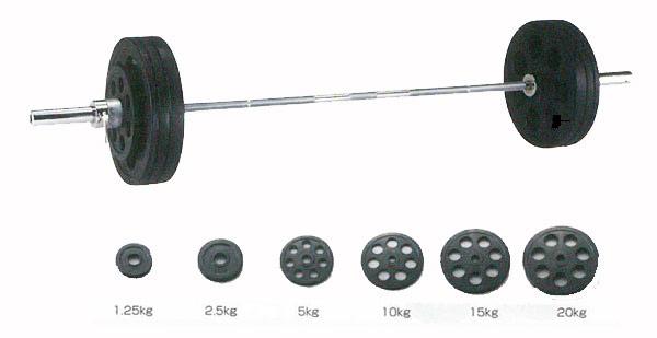 【バーベル セット】ダンノ Φ50mm穴付ラバーバーベルセット 100kgセット D-5882