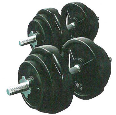 【ダンベル セット】KANEYA ラバーバーベル28Φ 40kgセット(片手20kg) KH-405